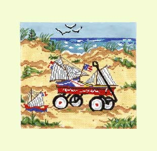 Red Wagon on the Beach design