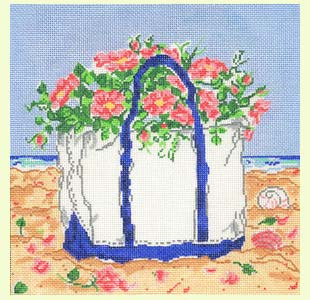 Beach Bag with Flowers design