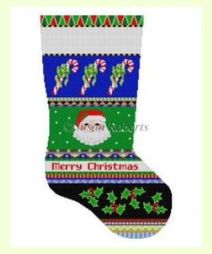 Bold Stripe Santa Face and Candy Canes design