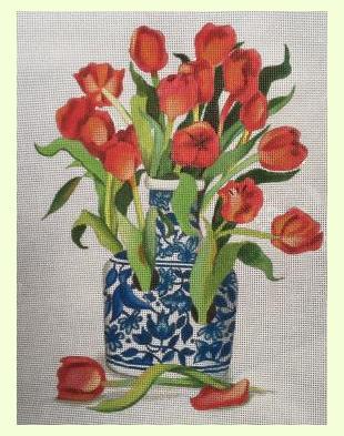 Blue Vase with Tulips design