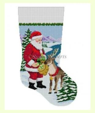 Santa Feeding Apples to Reindeer design