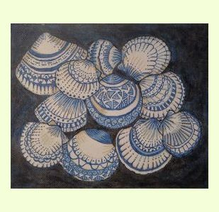 Blue And White Shells design