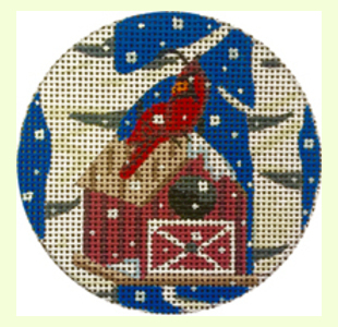 Cardinal-with-Red-Birdhouse design