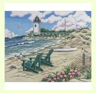 Beach-Scene-with-lighthouse design