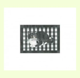 Gingham-Black-and-White-Cat design