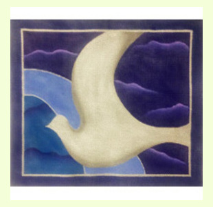 Silver Dove on Night Sky design